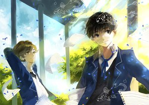 Rating: Safe Score: 38 Tags: all_male animal black_hair blue_eyes brown_hair clouds fish kyouichi male original paper petals school_uniform sky yellow_eyes User: STORM