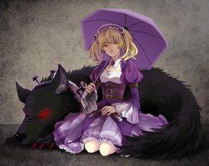 Rating: Safe Score: 76 Tags: animal blonde_hair choker cistron dress headdress sheri twintails umbrella unlight wolf yellow_eyes User: minabiStrikesAgain