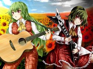 Rating: Safe Score: 24 Tags: flowers green_hair guitar instrument kazami_yuuka long_hair red_eyes short_hair skirt sunflower touhou User: Tensa