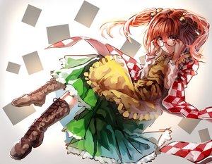 Rating: Safe Score: 69 Tags: apron bell boots dress glasses motoori_kosuzu orange_hair pink_eyes scarf touhou twintails uu_uu_zan User: Flandre93