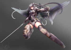 Rating: Safe Score: 152 Tags: armor gray gray_hair gun long_hair mechagirl original red_eyes shou_mai signed sword thighhighs twintails weapon User: Flandre93