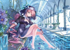 Rating: Safe Score: 76 Tags: barefoot bubbles dress flowers gloves headdress long_hair nun original purple_hair water yueyingjinfeng User: BattlequeenYume