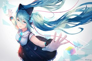 Rating: Safe Score: 57 Tags: aliasing aqua_eyes aqua_hair bow dress hatsune_miku headphones kachi_(valeiriya) long_hair magical_mirai_(vocaloid) signed tie twintails vocaloid wristwear User: otaku_emmy