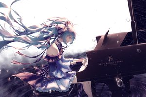 Rating: Safe Score: 81 Tags: choker dress hatsune_miku instrument long_hair piano shuryukan vocaloid yuki_miku User: FormX