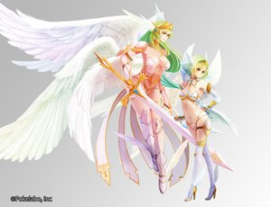 Rating: Safe Score: 167 Tags: 2girls aka_tonbo_(lovetow) angel breasts cleavage navel original sword weapon User: FormX