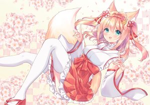 Rating: Safe Score: 78 Tags: animal_ears blonde_hair blush cherry_blossoms flowers foxgirl green_eyes headband japanese_clothes miko miyakoto original tail thighhighs twintails User: BattlequeenYume