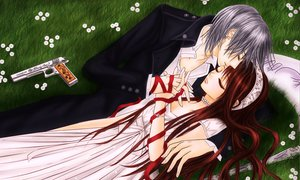 Rating: Safe Score: 17 Tags: dress grass gun kiryu_zero long_hair scythe vampire_knight weapon yuuki_cross User: Destroying