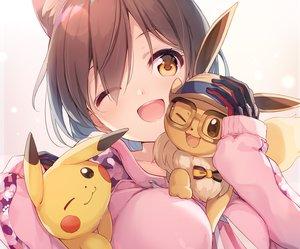 Rating: Safe Score: 44 Tags: animal_ears brown_eyes brown_hair catgirl close cropped crossover eevee gloves hololive hoodie nijihashi_sora pikachu pokemon roboco-san scan short_hair wink User: sadodere-chan