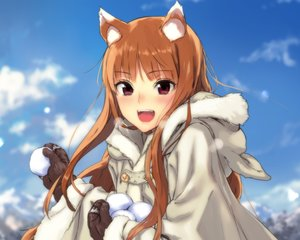 Rating: Safe Score: 238 Tags: animal_ears cropped fang gloves hoodie horo kawakami_rokkaku ookami_to_koushinryou orange_hair red_eyes snow wolfgirl User: mattiasc02