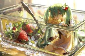 Rating: Safe Score: 244 Tags: dress flowers food fruit green_eyes green_hair hatsune_miku kirayoci long_hair strawberry twintails vocaloid User: Flandre93