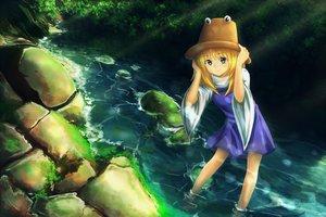Rating: Safe Score: 0 Tags: blonde_hair dress green_eyes hat leikangmin moriya_suwako touhou tree water User: Flandre93