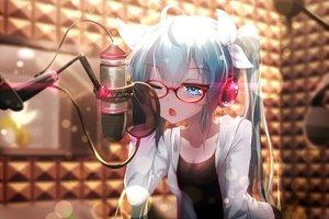 Rating: Safe Score: 409 Tags: aqua_eyes aqua_hair bai_yemeng glasses hatsune_miku headphones long_hair microphone ribbons twintails vocaloid wink User: Flandre93