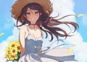 Rating: Safe Score: 147 Tags: brown_eyes brown_hair choker clouds dress flowers long_hair morikura_en original petals ribbons sky summer_dress sunflower User: RyuZU