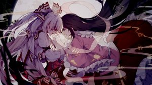 Rating: Safe Score: 43 Tags: 2girls black_hair fujiwara_no_mokou gray_hair houraisan_kaguya long_hair toriki touhou User: RyuZU