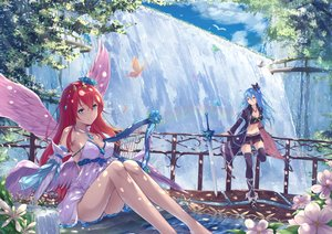 Rating: Safe Score: 253 Tags: 2girls angel animal aqua_eyes aqua_hair ass bird boots bow breasts butterfly clouds cross dress elbow_gloves feathers flowers fuuro_(johnsonwade) gloves instrument long_hair navel original pink_eyes red_hair sky sword thighhighs water waterfall weapon wings User: RyuZU