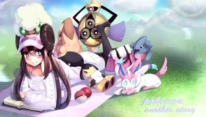 Rating: Safe Score: 80 Tags: aegislash blue_eyes blush book brown_hair gible grass group hat long_hair lopunny mawile mei_(pokemon) pokemon sylveon thighhighs torieto whimsicott User: humanpinka