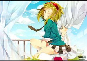 Rating: Safe Score: 104 Tags: bandage bandaid goggles gumi haruka_(haru) kneehighs tie vocaloid wink User: FormX