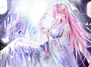 Rating: Safe Score: 64 Tags: aliasing blue_eyes blush butterfly cropped fan japanese_clothes kimono long_hair megurine_luka mullpull pink_hair see_through tattoo umbrella vocaloid watermark User: otaku_emmy