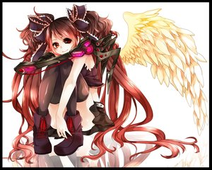 Rating: Safe Score: 132 Tags: boots calne_ca conomi-c5 hatsune_miku long_hair red_eyes red_hair thighhighs twintails vocaloid wings User: FormX