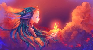Rating: Safe Score: 168 Tags: blood blue_hair clouds long_hair original red_eyes sky sunset tears User: BoobMaster