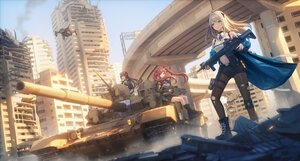 Rating: Safe Score: 42 Tags: blue_eyes breasts brown_eyes brown_hair building city cleavage combat_vehicle goggles gray_hair gun long_hair original pantyhose red_eyes red_hair ruins shorts twintails weapon ziko User: Nepcoheart