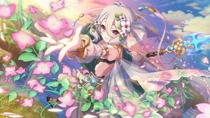 Rating: Safe Score: 57 Tags: clouds flowers gray_hair kokkoro petals pink_eyes princess_connect! see_through short_hair sky spear tagme_(artist) weapon User: RyuZU