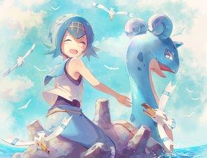 Rating: Safe Score: 53 Tags: animal aqua_hair bird blush clouds lapras nagakura_(seven_walkers) pokemon short_hair sky suiren_(pokemon) water wingull User: RyuZU