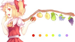 Rating: Safe Score: 76 Tags: apple blonde_hair bow fang flandre_scarlet food fruit hat maiwetea red_eyes short_hair touhou vampire white User: FormX
