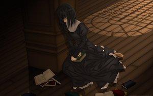 Rating: Safe Score: 44 Tags: black_hair book dress kuonji_alice mahou_tsukai_no_yoru short_hair type-moon vector User: Oyashiro-sama