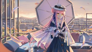 Rating: Safe Score: 42 Tags: arknights ceylon_(arknights) feathers hat long_hair nosttat sky umbrella watermark User: BattlequeenYume