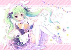 Rating: Safe Score: 74 Tags: animal_ears apron bunny_ears green_hair headdress kamishiro_piyo long_hair maid original purple_eyes thighhighs twintails waitress User: aaayu