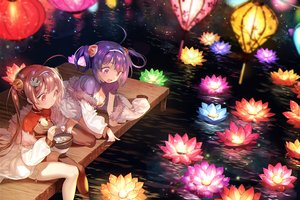 Rating: Safe Score: 60 Tags: 2girls anthropomorphism azur_lane breasts chinese_clothes chinese_dress cleavage flowers food long_hair ning_hai_(azur_lane) ping_hai_(azur_lane) pink_eyes pink_hair purple_eyes purple_hair thighhighs twintails water zuizi User: BattlequeenYume