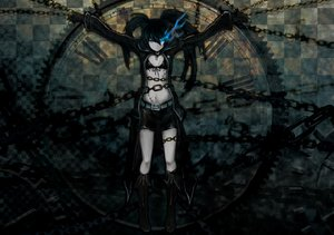 Rating: Safe Score: 167 Tags: bikini_top black_hair black_rock_shooter blue_eyes boots bsl chain fire kuroi_mato scar shorts twintails User: STORM