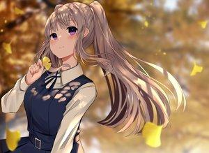 Rating: Safe Score: 31 Tags: autumn brown_hair idolmaster idolmaster_shiny_colors leaves long_hair purple_eyes tsuchi_(tsuchi_clear) twintails yuukoku_kiriko User: BattlequeenYume