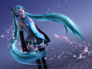 Rating: Safe Score: 83 Tags: 3d aqua_eyes aqua_hair blue hatsune_miku headphones long_hair thighhighs tie twintails vocaloid User: anaraquelk2
