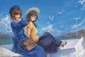 Rating: Safe Score: 24 Tags: 2girls animal bird black_hair blue_eyes blush brown_hair clouds dress hat long_hair original skirt sky water yahiro_(666131415) yellow_eyes User: BattlequeenYume