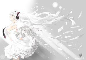 Rating: Safe Score: 18 Tags: angel hatsune_miku headphones tie vocaloid white white_hair User: humanpinka