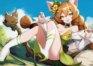 Rating: Safe Score: 68 Tags: animal_ears ankkoyom braids clouds dress idle_heroes long_hair sky tail twintails User: BattlequeenYume