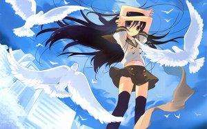 Rating: Safe Score: 123 Tags: black_hair school_uniform shakugan_no_shana shana skirt thighhighs User: pantu