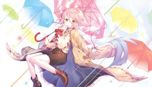 Rating: Safe Score: 45 Tags: all_male boots bow cape ibara_riato male original pink_eyes pink_hair rain ribbons short_hair shorts trap umbrella waifu2x water User: otaku_emmy