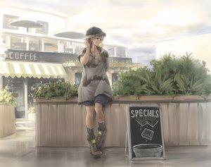Rating: Safe Score: 75 Tags: blonde_hair boots hat kneehighs original short_hair shorts tantu_(tc1995) User: RyuZU