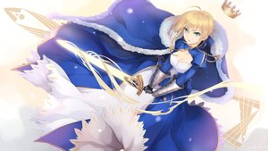 Rating: Safe Score: 26 Tags: blonde_hair bzerox cape crown dress fate_(series) fate/stay_night gloves green_eyes saber short_hair sword weapon User: RyuZU