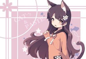 Rating: Safe Score: 33 Tags: animal_ears black_hair brown_eyes catgirl hoodie long_hair masaki_(machisora) original tail User: otaku_emmy
