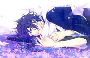 Rating: Safe Score: 37 Tags: all_male hakuouki_shinsengumi_kitan japanese_clothes katana kimono male petals purple_eyes purple_hair saitou_hajime sword weapon User: SennoMakoto