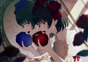 Rating: Safe Score: 47 Tags: 2girls achiki apple blue_eyes bow crying fang flowers food fruit lolita_fashion mirror original red_eyes reflection rose short_hair tears User: otaku_emmy