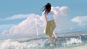 Rating: Safe Score: 48 Tags: aliasing barefoot beach clouds long_hair original scenic skirt sky tagme_(artist) water windmill User: RyuZU