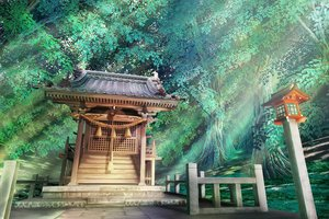 Rating: Safe Score: 40 Tags: forest grass hankachi_(okayama012) original shrine tree User: FormX