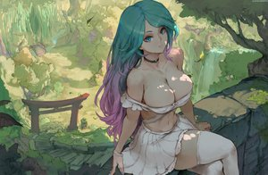 Rating: Safe Score: 99 Tags: aqua_eyes breasts choker cleavage cutesexyrobutts forest green_hair long_hair no_bra shade signed silvervale silvervale_(channel) skirt_lift thighhighs torii tree User: gnarf1975