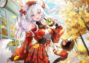 Rating: Safe Score: 90 Tags: animal_ears autumn bicycle blush building clouds dress drink foxgirl leaves long_hair mullpull necklace original red_eyes sky tail tree twintails watermark white_hair User: BattlequeenYume