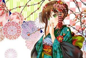 Rating: Safe Score: 17 Tags: blush braids brown_hair flowers geroro green_eyes headdress japanese_clothes kimono original waifu2x User: otaku_emmy